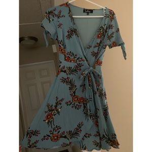Lulu's Blue Floral Wrap Dress